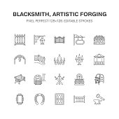 Forged metal products, artistic forging vector flat line icons. Blacksmith , window fence, gate, railing, garden furniture, signboard street lights. Metal decoration signs. Pixel perfect 64x64