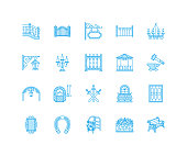 Forged metal products, artistic forging vector flat line icons. Blacksmith , window fence, gate, railing, garden furniture, signboard street lights. Metal decoration signs. Pixel perfect 128x128