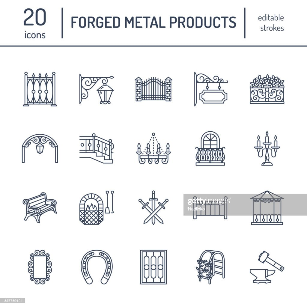 Forged metal products, artistic forging vector line icons. Blacksmith elements, wrought window fence, gate, railing, garden furniture, signboard and street lights. Metal decoration thin linear signs
