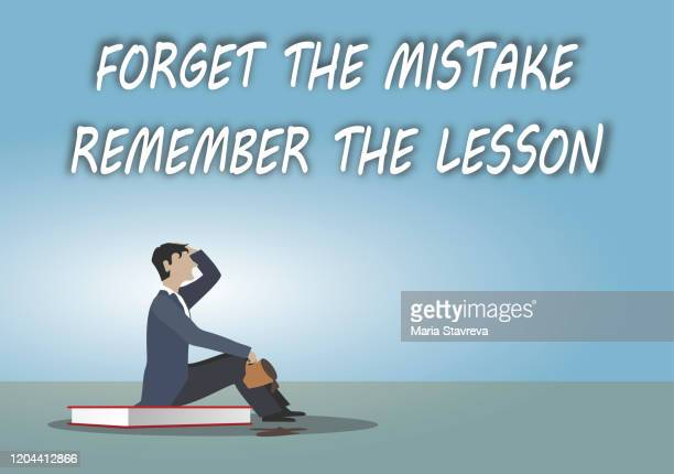 forget the mistake, remember the lesson - thanks quotes stock illustrations