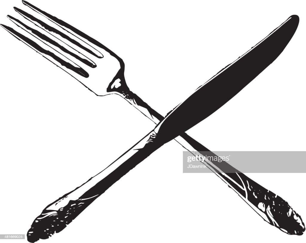 Fork and knife crossed in an X formation