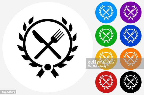 Fork and Knife Emblem Icon on Flat Color Circle Buttons