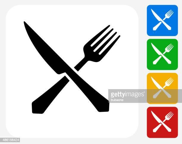 Gabel und Messer-Symbol flache Grafik Design