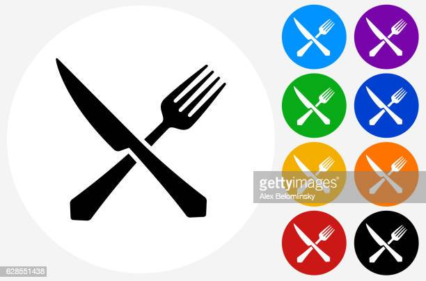 Fork and Knife Icon on Flat Color Circle Buttons