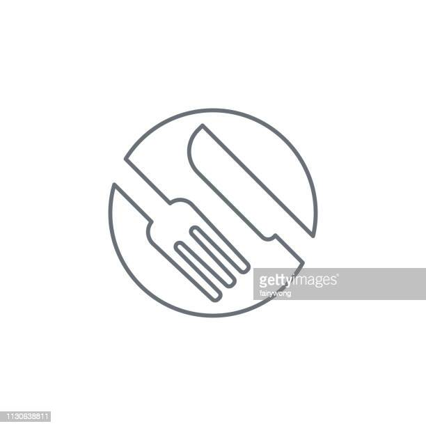 fork and knife icon - hungry stock illustrations