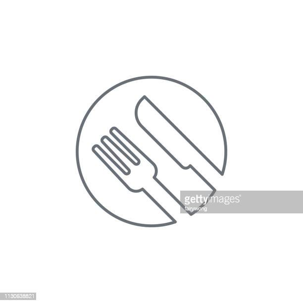 fork and knife icon - fasting activity stock illustrations, clip art, cartoons, & icons