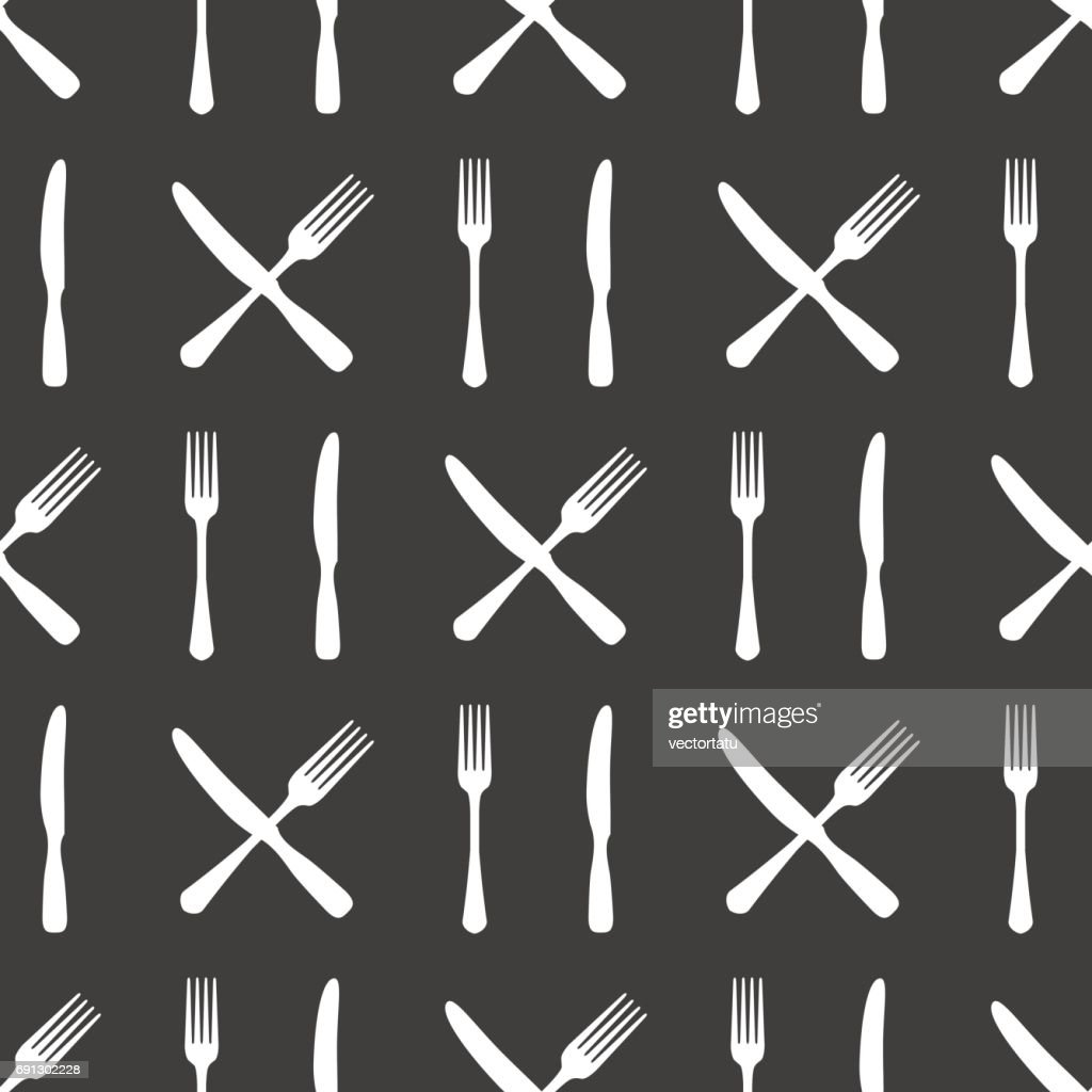 Fork and knife kitchen seamless pattern