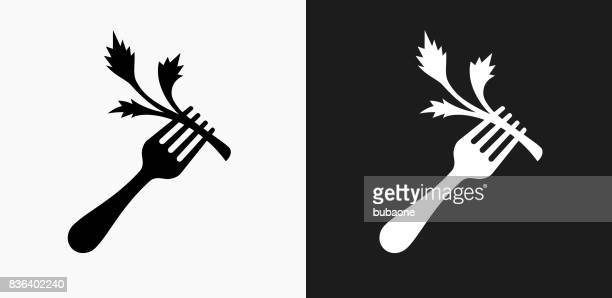 Fork and Salad Icon on Black and White Vector Backgrounds