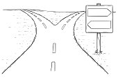 Fork in the Road Empty Arrow Sign Drawing