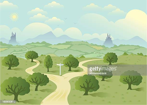 fork in the road two. - road intersection stock illustrations
