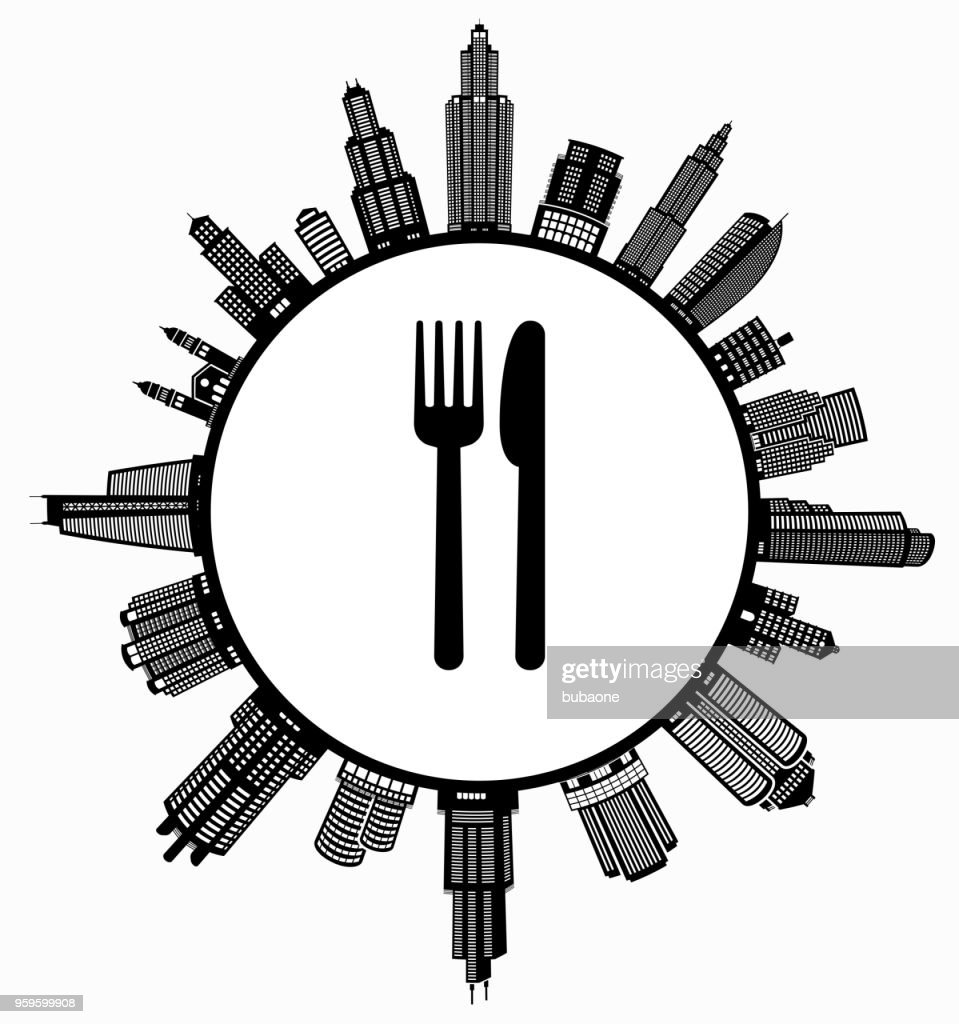 Gabel & Messer auf modernen Stadtbild Skyline Hintergrund : Stock-Illustration