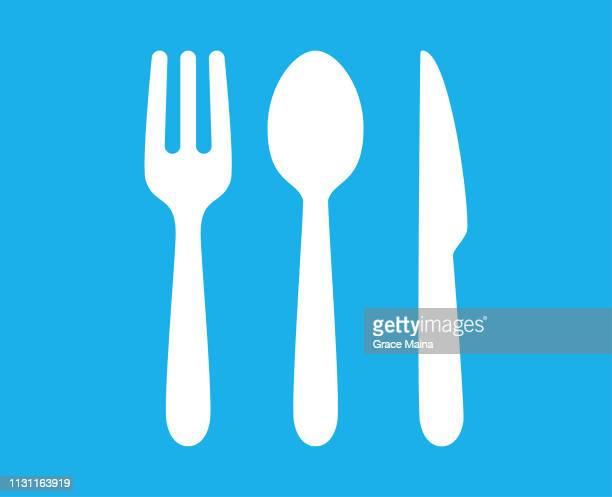 illustrazioni stock, clip art, cartoni animati e icone di tendenza di fork, spoon and knife for breakfast, lunch, and dinner - forchetta