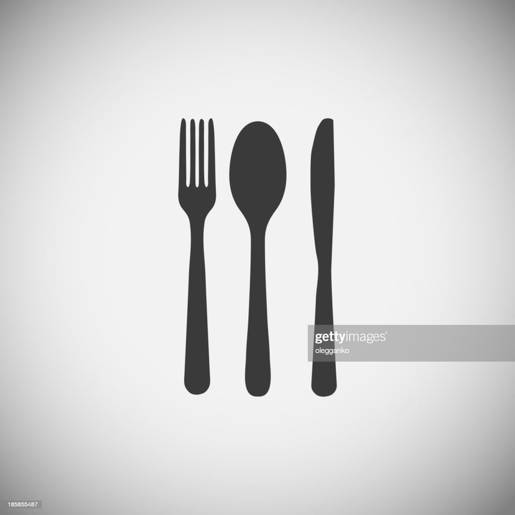 Fork, spoon and knife silhouettes over a gray background