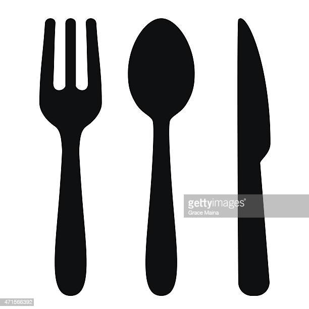 fork, spoon and knife - vector - clip art stock illustrations, clip art, cartoons, & icons