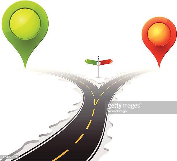 分かれ道で、マップポインター「 - 分かれ道点のイラスト素材/クリップアート素材/マンガ素材/アイコン素材