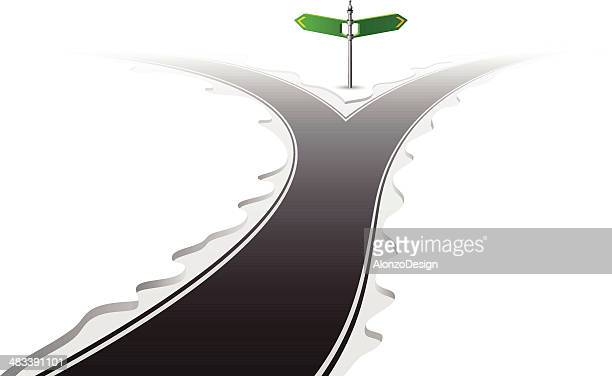 forked road with signpost - two lane highway stock illustrations