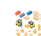 Forklift and Distribution Warehouse Icon set