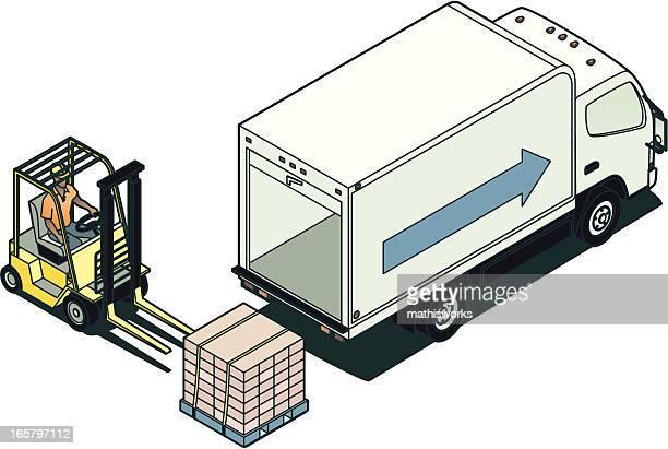 Forklift and Truck Illustration