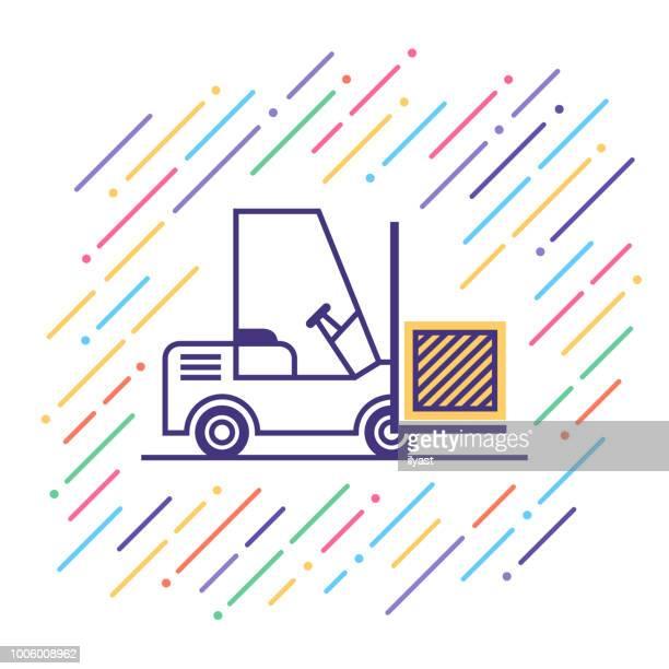 illustrations, cliparts, dessins animés et icônes de chariot élévateur ligne icône - déménagement
