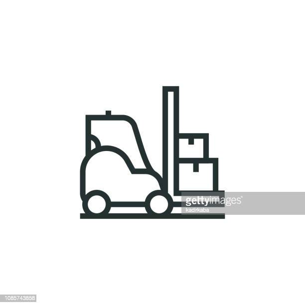 forklift line icon - rack stock illustrations