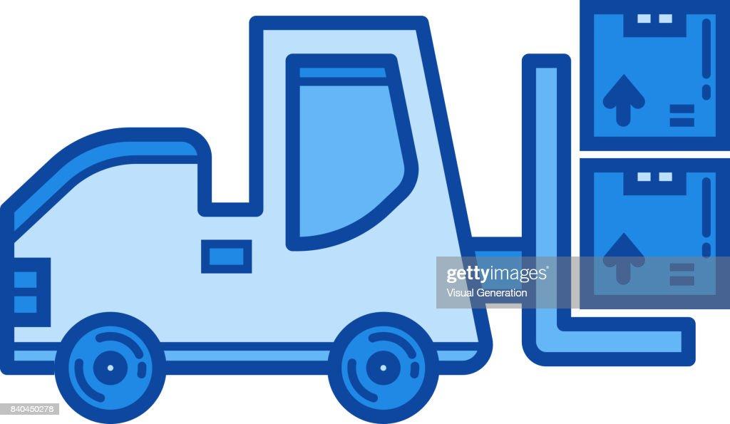 Forklift line icon