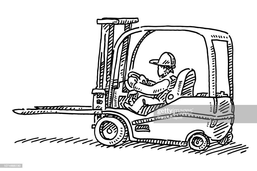 Gabelstapler LKW Zeichnung : Vektorgrafik