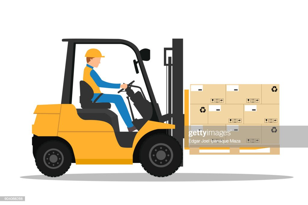 Forklift truck with man driving.