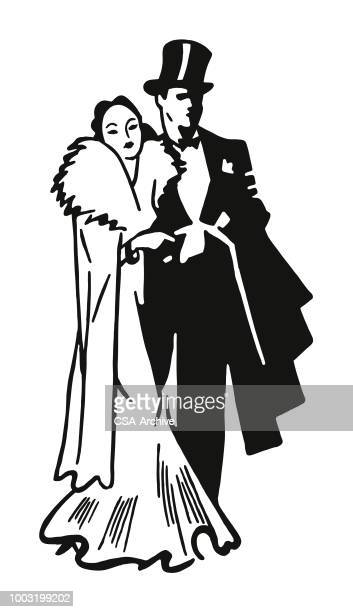 Formal Couple in Gown and Tuxedo