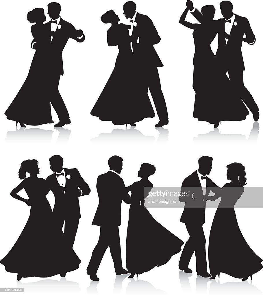 Formal dance silhouettes : stock illustration