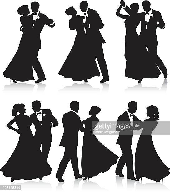 formal dance silhouettes - dancing stock illustrations, clip art, cartoons, & icons