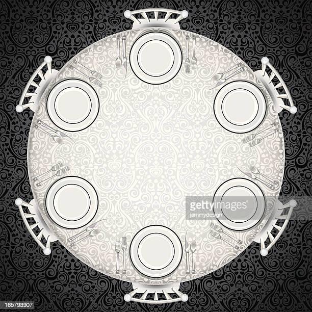 ilustraciones, imágenes clip art, dibujos animados e iconos de stock de ambiente formal mesa - mesa de comedor