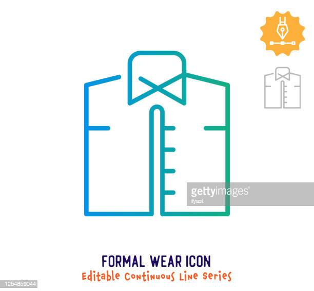 formal wear continuous line editable stroke line - retail employee stock illustrations