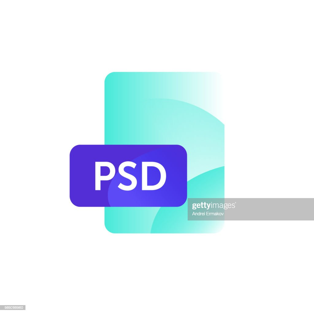 PSD format icon. Vector. Gradient flat style. Bright, fashionable illustration of icons. Image is isolated on white background. A modern icon for the site and presentation.