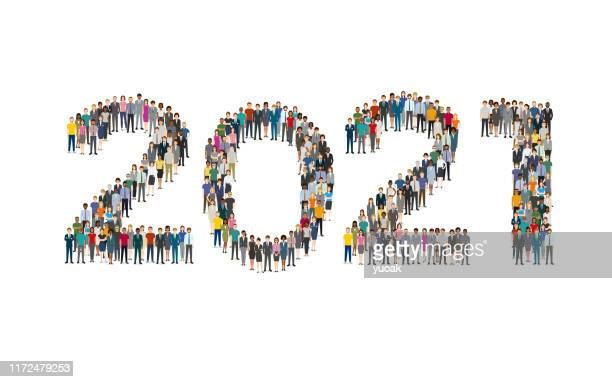 2021 formed out from people - 2021 stock illustrations