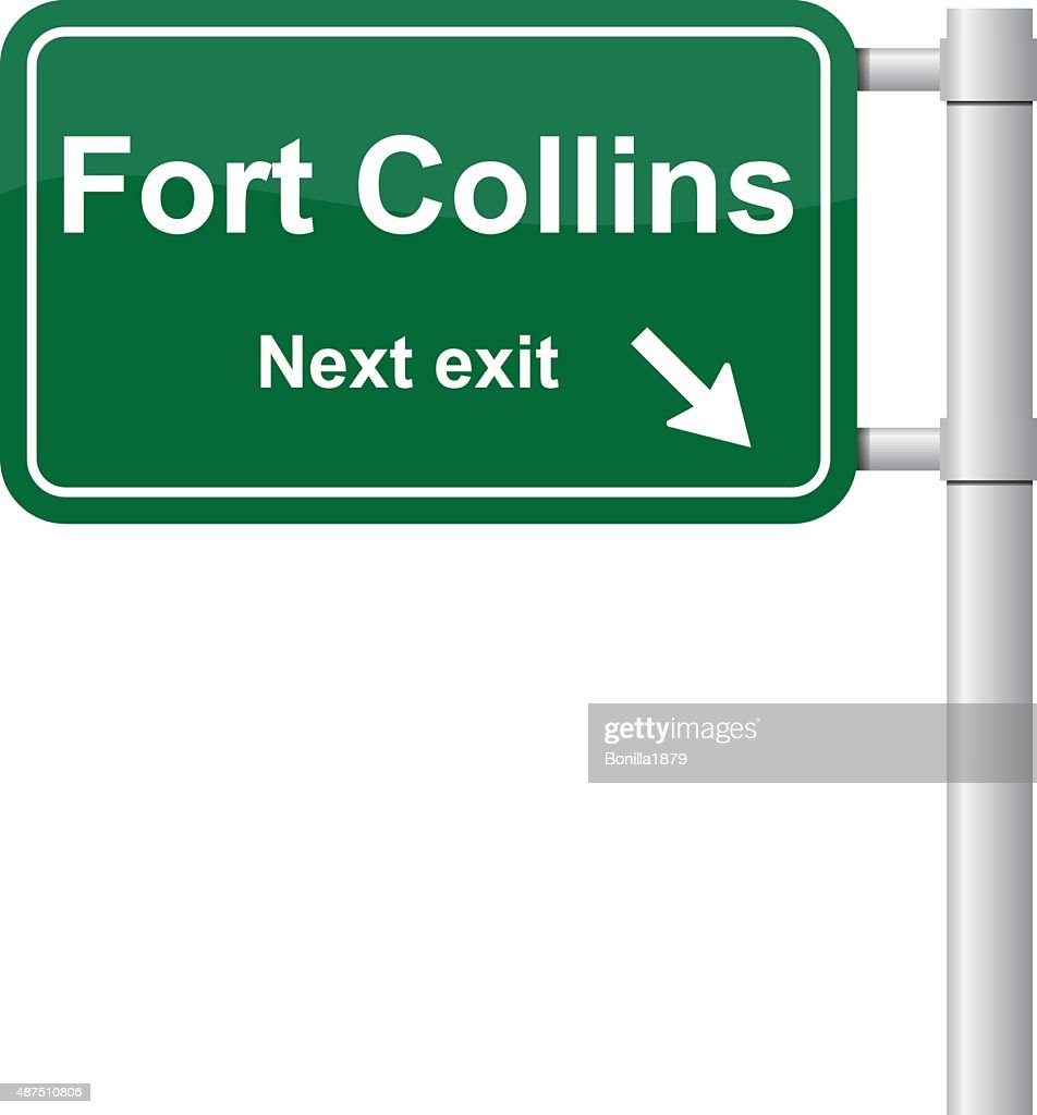 Fort Collins next exit green signal vector