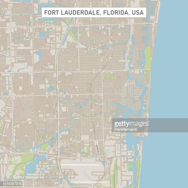 フロリダ州のフォートローダーデール米国街マップ - フォートローダーデール点のイラスト素材/クリップアート素材/マンガ素材/アイコン素材