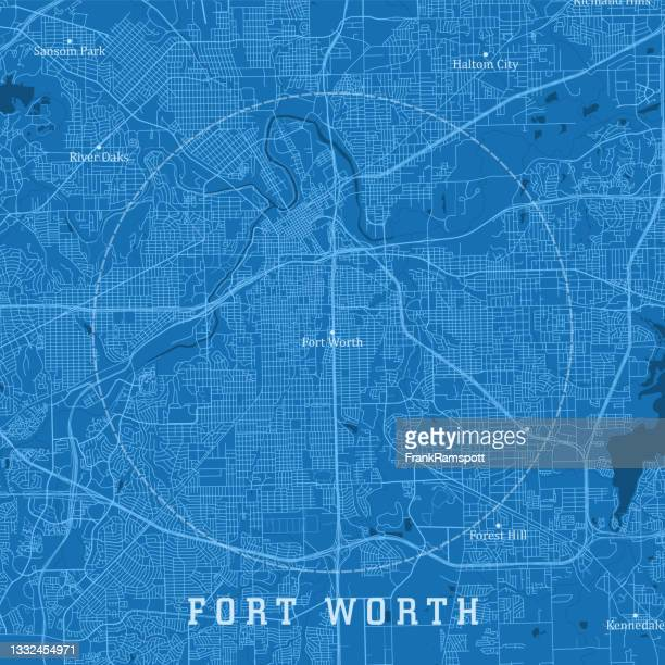 fort worth tx city vector road map blue text - trinity river texas stock illustrations