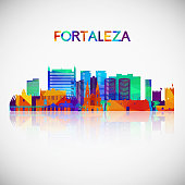 Fortaleza skyline silhouette in colorful geometric style. Symbol for your design. Vector illustration.