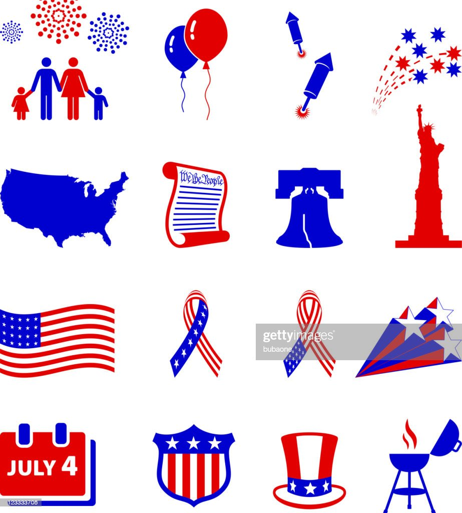 Forth of July celebration royalty free vector icon set