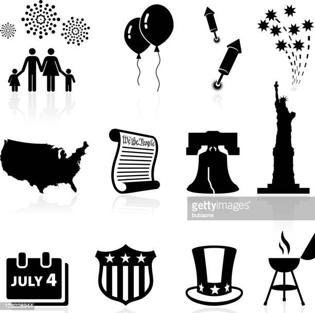 forth of july independence day celebration vector icon set - declaration of independence stock illustrations