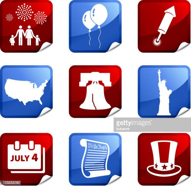forth of july royalty free vector icon set stickers - independence stock illustrations, clip art, cartoons, & icons