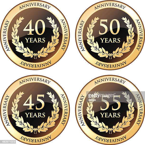 stockillustraties, clipart, cartoons en iconen met fortieth and fiftieth anniversary awards - 40 49 jaar