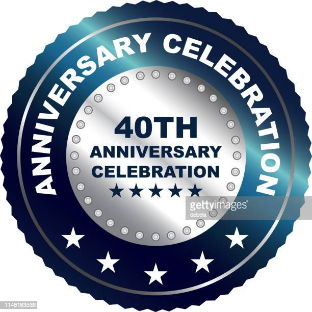 fortieth anniversary celebration silver award - 40th anniversary stock illustrations, clip art, cartoons, & icons