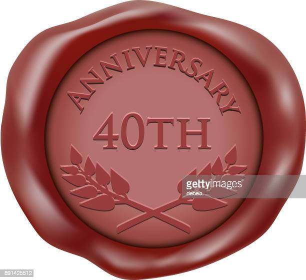 fortieth anniversary wax seal icon - 40th anniversary stock illustrations, clip art, cartoons, & icons