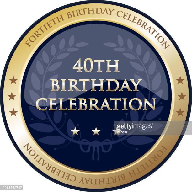 40周年記念金賞 - 40歳の誕生日点のイラスト素材/クリップアート素材/マンガ素材/アイコン素材