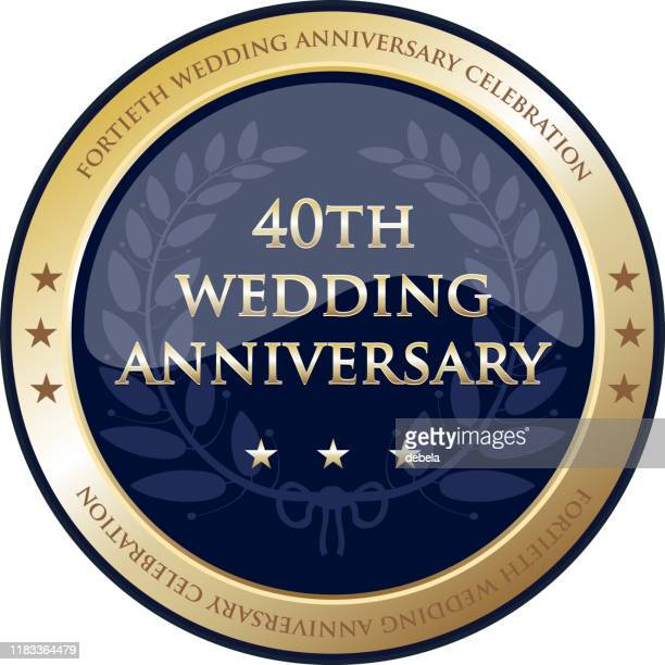 fortieth wedding anniversary celebration gold award - 40th anniversary stock illustrations