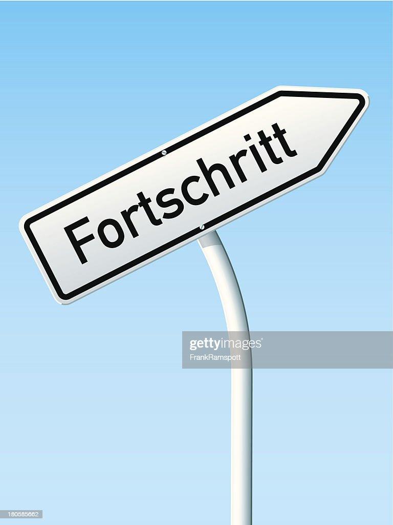 Fortschritt conceito de Sinal de estrada de seta para cima Alemão : Ilustração de stock