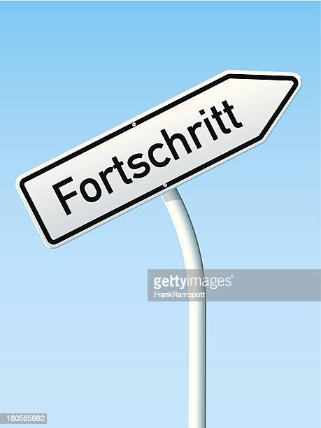 Fortschritt Konzept Pfeil bis deutsche Road Sign