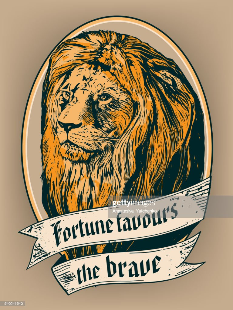 'Fortune favours the brave' for poster, t-shirt or label print