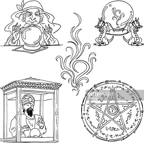 fortune teller collection in black and white - tarot cards stock illustrations, clip art, cartoons, & icons